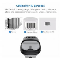 Une douchette capable de scanner un code barre abimé en 1D jusqu'en 3D